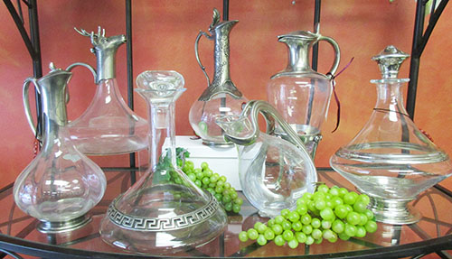 Pewter Carafes with Crystal bottles - serve your wine in luxurious style!